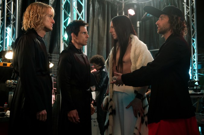 Left to right: Owen Wilson plays Hansel, Ben Stiller plays Derek Zoolander, Benedict Cumberbatch plays All and Kyle Mooney plays Don Atari in Zoolander No. 2 from Paramount Pictures.