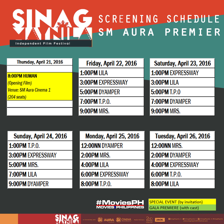 Sinag Maynila Schedule SM Aura Premier