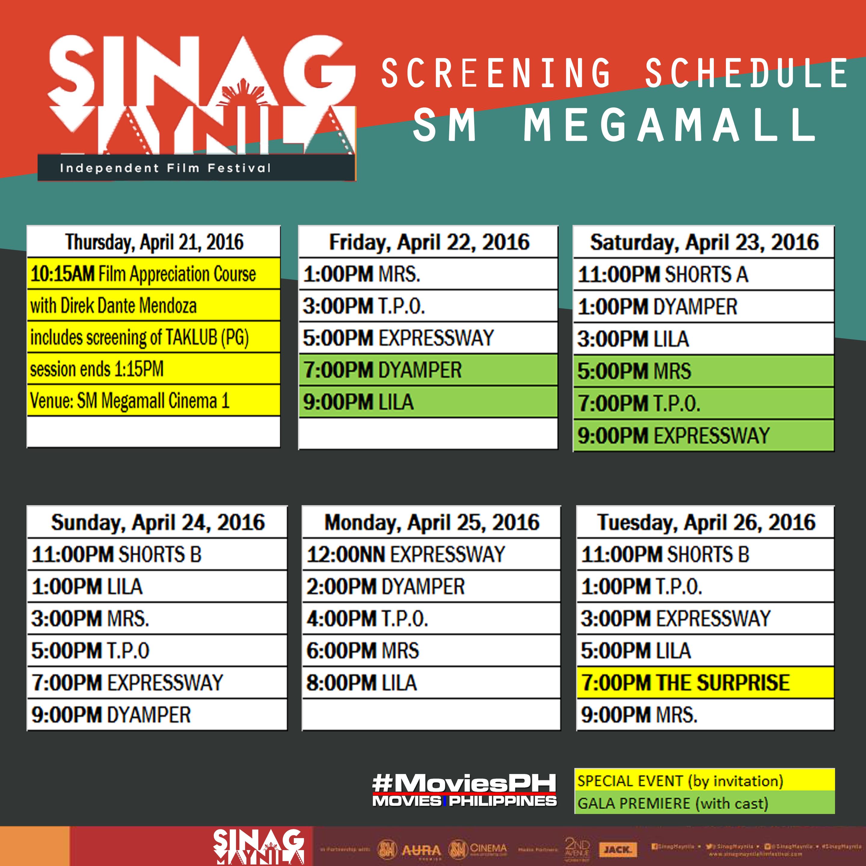 Sinag Maynila Schedule SM Megamall