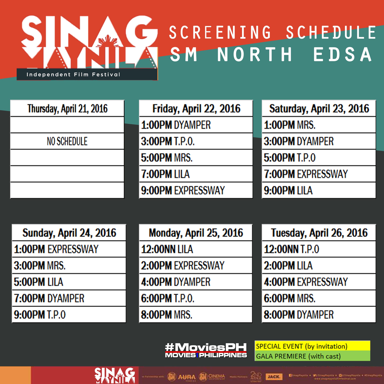 Sinag Maynila Schedule SM North EDSA