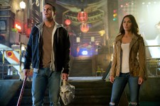 Left to right: Stephen Amell as Casey Jones and Megan Fox as April O'Neil in Teenage Mutant Ninja Turtles: Out of the Shadows from Paramount Pictures, Nickelodeon Movies and Platinum Dunes Productions