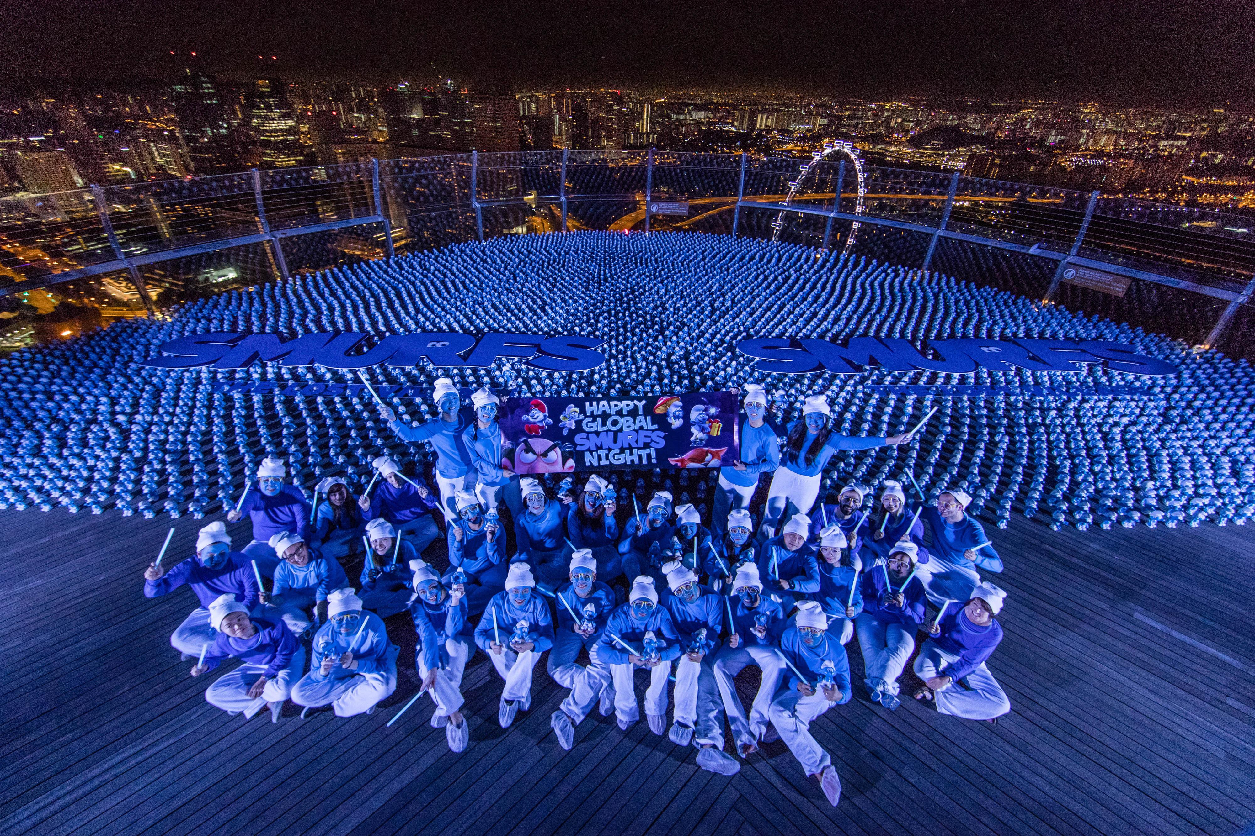 Global Smurfs Day Celebration, Marina Bay Sands, Singapore