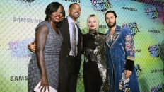 """NEW YORK, NY - AUGUST 01: (L-R) Actors Viola Davis, Will Smith, Margot Robbie, and Jared Leto celebrate the Premiere of """"Suicide Squad"""" with Samsung at Beacon Theatre on August 1, 2016 in New York, New York. (Photo by Ilya S. Savenok/Getty Images for Samsung)"""