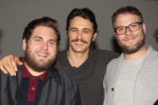 """New York, NY - 8/4/16 - Jonah Hill, James Franco and Seth Rogen at the New York Special Screening of Columbia Pictures and Annapurna Pictures """"Sausage Party"""" After Party."""