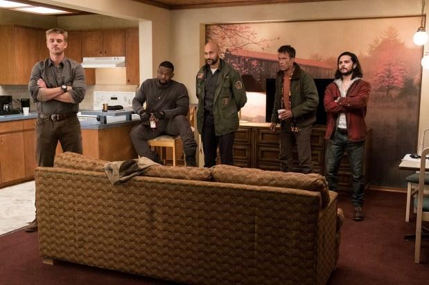 "L-r, Boyd Holbrook, Trevante Rhodes, Keegan Michael-Key, Thomas Jane and Augusto Aguiliera in Twentieth Century Fox's ""The Predator."""