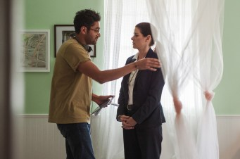 Director/writer Aneesh Chaganty and Debra Messing on the set of Screen Gems' SEARCHING.