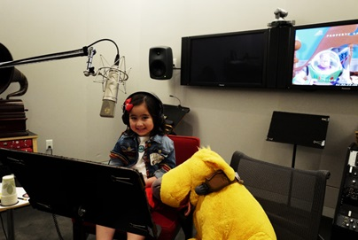 Scarlet getting ready to take on the career of a voice talent as she gets a taste of dubbing at Pixar Studios