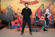 LOS ANGELES, CA - 12/30/18: Jake Johnson at the Junket Photo Call for Columbia Pictures and Sony Pictures Animations' SPIDER-MAN: INTO THE SPIDER-VERSE at the Four Season Hotel