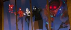 Spider-Ham (John Mulaney) Peter Parker (Jake Johnson), Spider-Gwen (Hailee Steinfeld), Spider-Man Noir (Nicolas Cage), and SP//DR in Columbia Pictures and Sony Pictures Animation's SPIDER-MAN: INTO THE SPIDER-VERSE.
