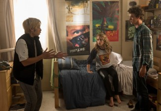 """(from left) Ryan (Phi Vu), Tree (Jessica Rothe) and Carter (Israel Broussard) in """"Happy Death Day 2U,"""" written and directed by Christopher Landon."""
