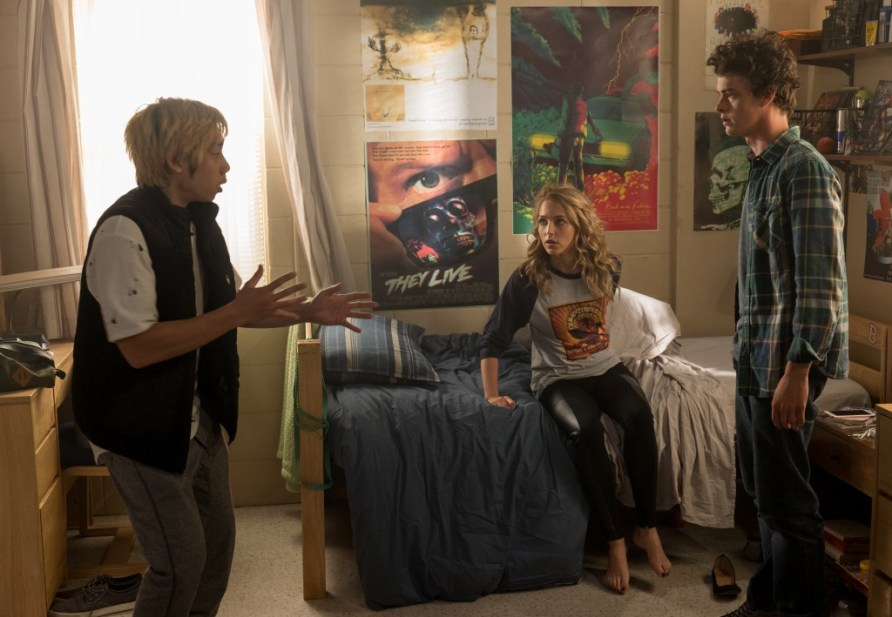 "(from left) Ryan (Phi Vu), Tree (Jessica Rothe) and Carter (Israel Broussard) in ""Happy Death Day 2U,"" written and directed by Christopher Landon."