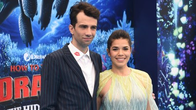 """Mandatory Credit: Photo by Phil Mccarten/Invision/AP/REX/Shutterstock (10100419af) Jay Baruchel, America Ferrera. Cast members Jay Baruchel, left, and America Ferrera attend the premiere of """"How to Train Your Dragon: The Hidden World"""" at the Regency Village Theatre, in Los Angeles LA Premiere of """"How to Train Your Dragon: The Hidden World"""", Los Angeles, USA - 09 Feb 2019"""