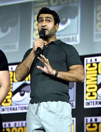 SAN DIEGO, CALIFORNIA - JULY 20: Kumail Nanjiani of Marvel Studios' 'The Eternals' at the San Diego Comic-Con International 2019 Marvel Studios Panel in Hall H on July 20, 2019 in San Diego, California. (Photo by Alberto E. Rodriguez/Getty Images for Disney)
