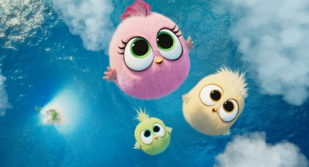 Zoe (Brooklyn Prince, pink), Vivi (Genesis Tennon, green), and Sam-Sam (Alma Varsano, beige) in Columbia Pictures and Rovio Animations' ANGRY BIRDS 2.
