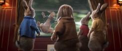 Peter Rabbit (James Corden), Benjamin (Colin Moody), Mopsy (Elizabeth Debicki), Flopsy (Margot Robbie) watch Cottontail (Amy Horn) having some fun in Columbia Pictures' PETER RABBIT™ 2: THE RUNAWY.
