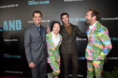 Century City, CA - February 11, 2020: Jeff Wadlow, Director/Writer/Producer, Jimmy O. Yang, Austin Stowell and Ryan Hansen at the Los Angeles premiere of Columbia Pictures' BLUMHOUSE'S FANTASY ISLAND.