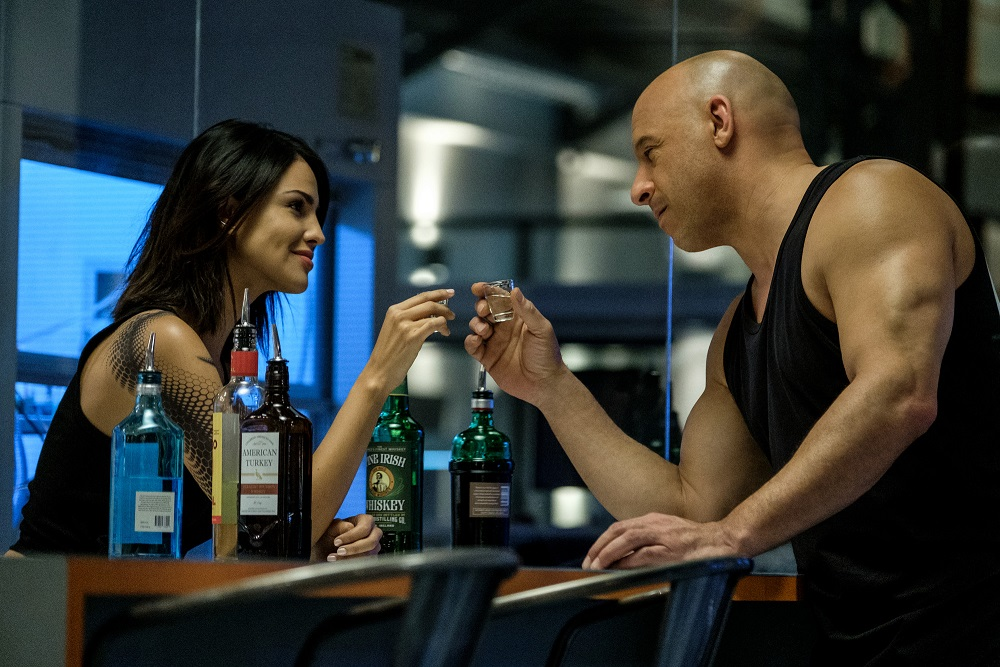 KT (Eiza Gonzalez) and Ray Garrison (Vin Diesel) in the RST Lab in Columbia Pictures' BLOODSHOT.