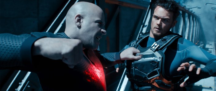 Bloodshot (Vin Diesel) and Jimmy Dalton (Sam Heughan) in Columbia Pictures' BLOODSHOT.
