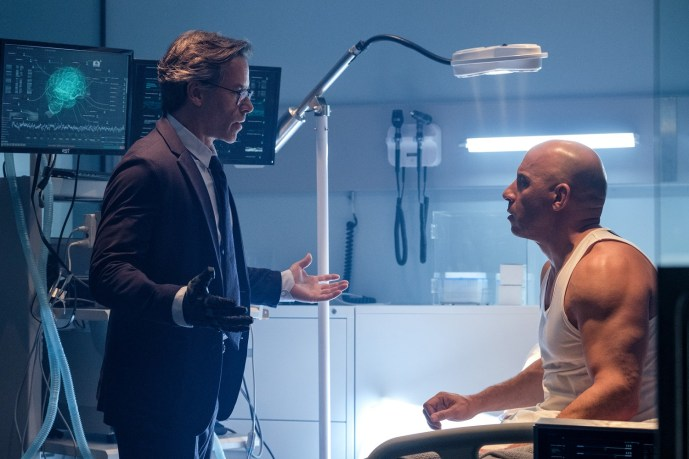 (L-R) Dr. Emil Harting (Guy Pearce) and Ray Garrison (Vin Diesel) in the RST Lab in Columbia Pictures' BLOODSHOT.
