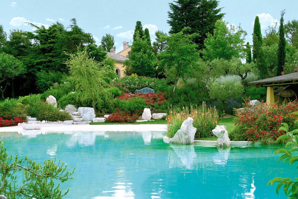 Realizzazione piscina con rocce artificiali e giardino