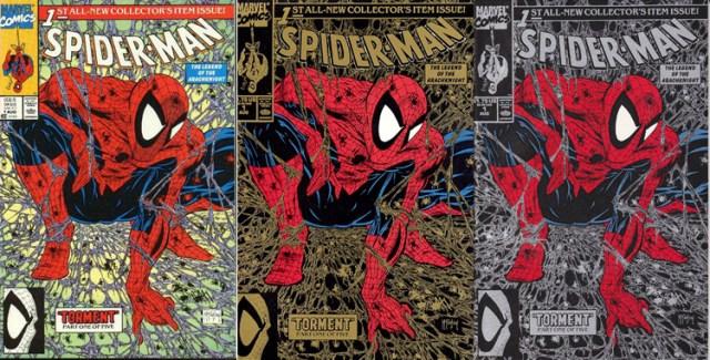 Tre olika omslag till första numret av nya Sprider-Man-titeln utan tillägget The Amazing.