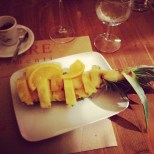 Desserting at Poco Loco: pineapple with honey