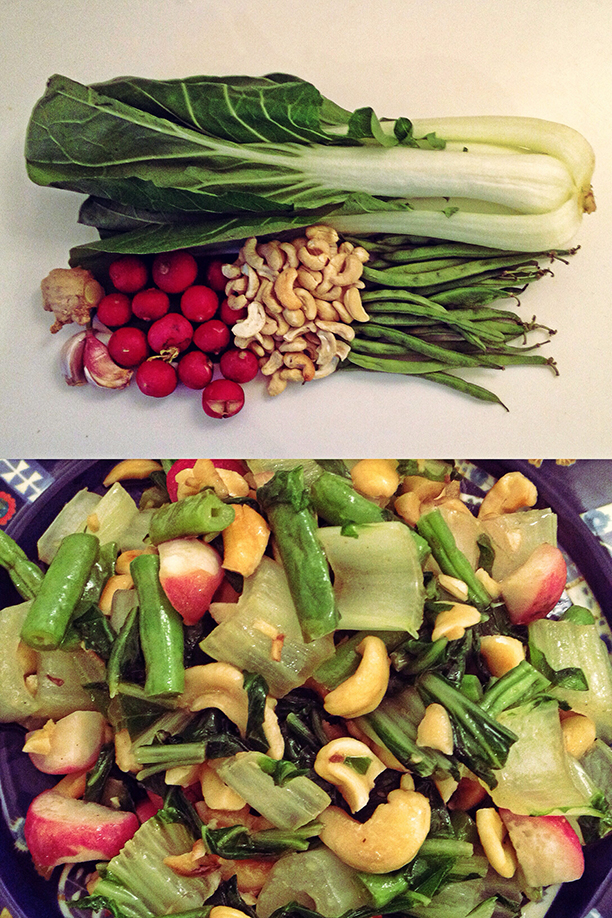 Bok choy, radish, string beans and cashew warm salad