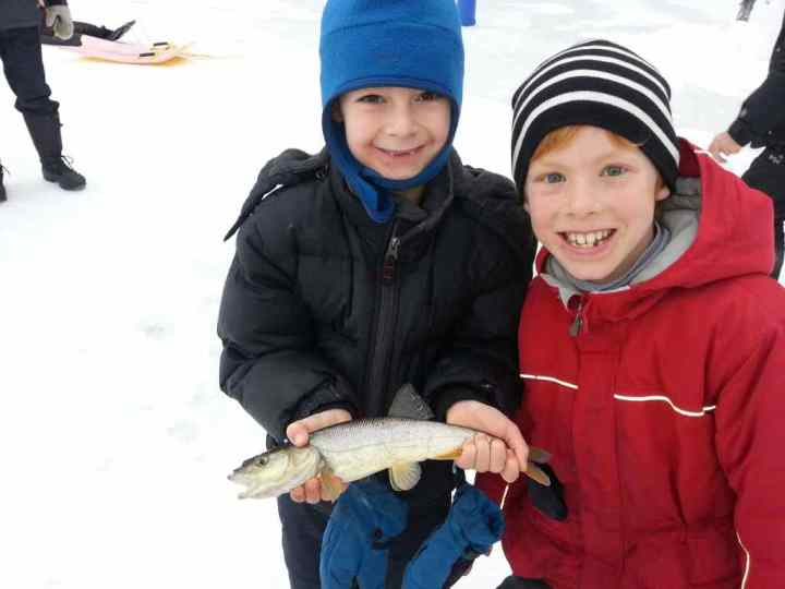 Tough competition at the 2015 Kids Ice Fishing derby