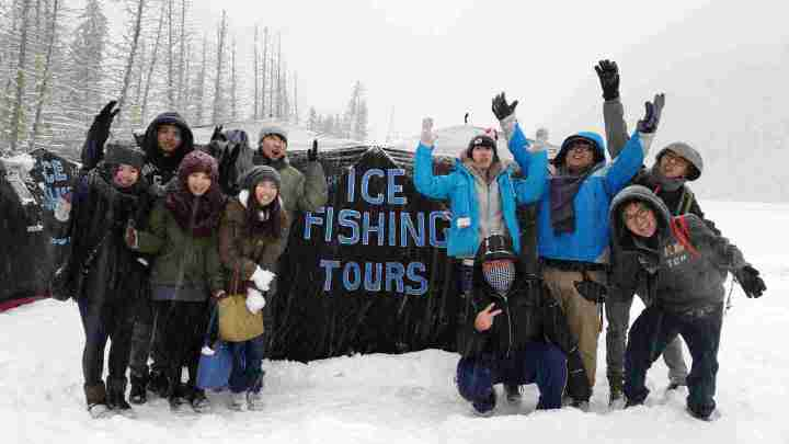 Ice Fishing with Friends & Families Whistler BC Canada