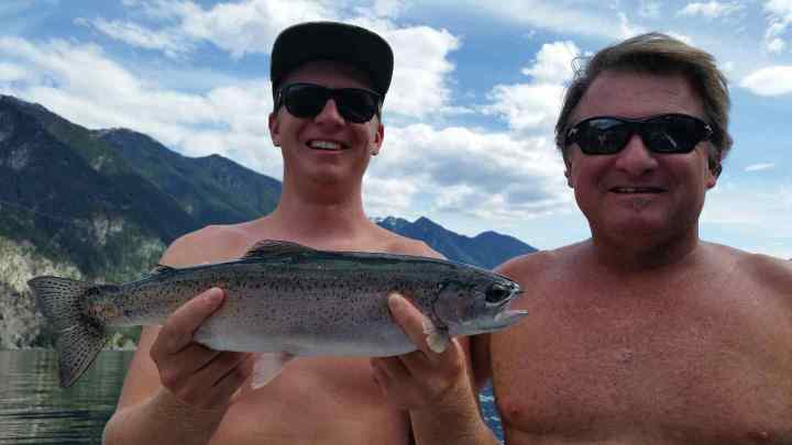 Father and son fishing in Whistler BC