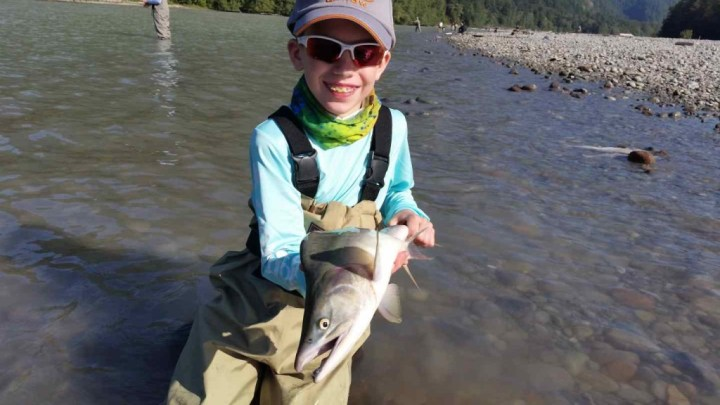 Kids love fishing with the Pemberton Fish Finder