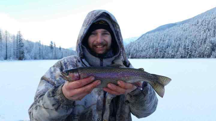 Ice fishing for Rainbow Trout in Canada