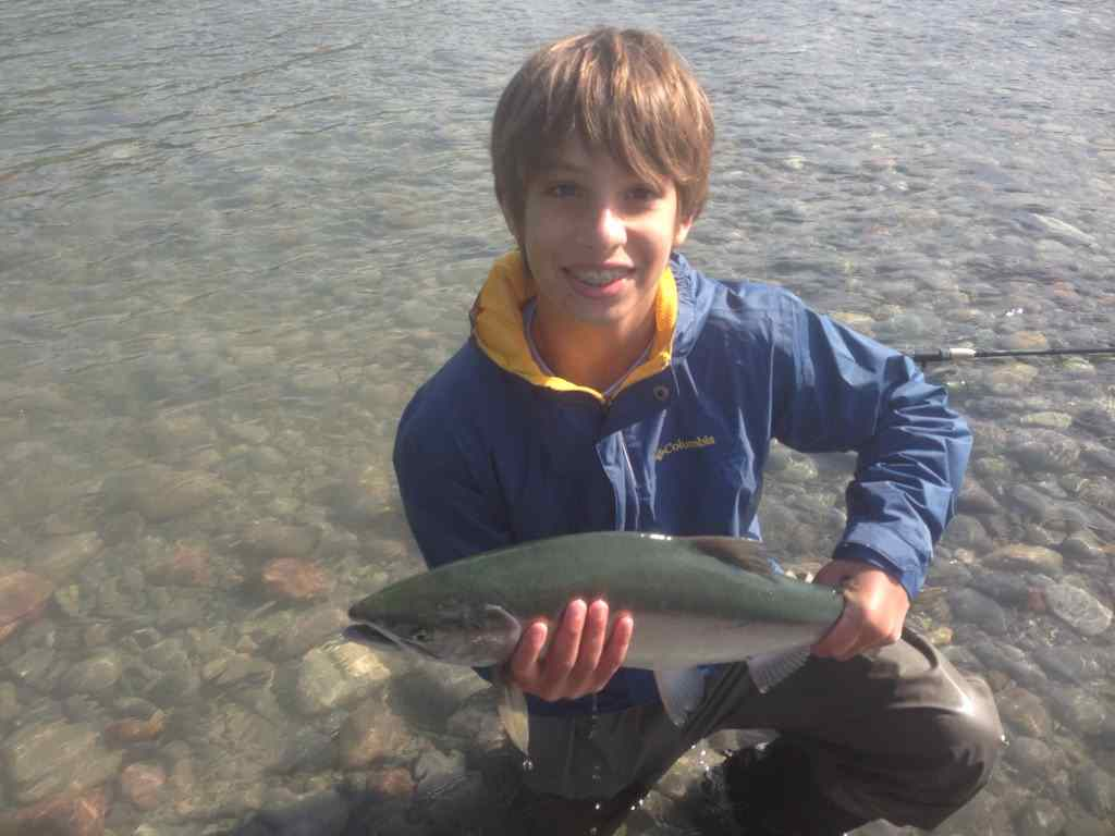 Kids fly fishing for Pink Salmon in BC