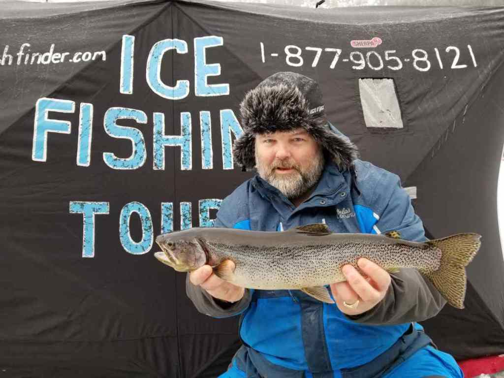 Ice fishing for big trout in BC Canada