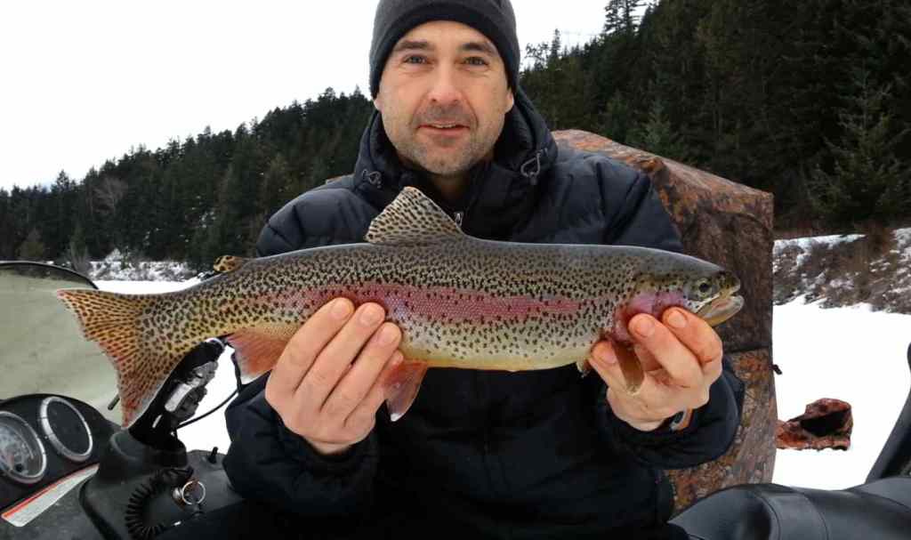 Ice fishing Cutthroat Trout in Pemberton BC