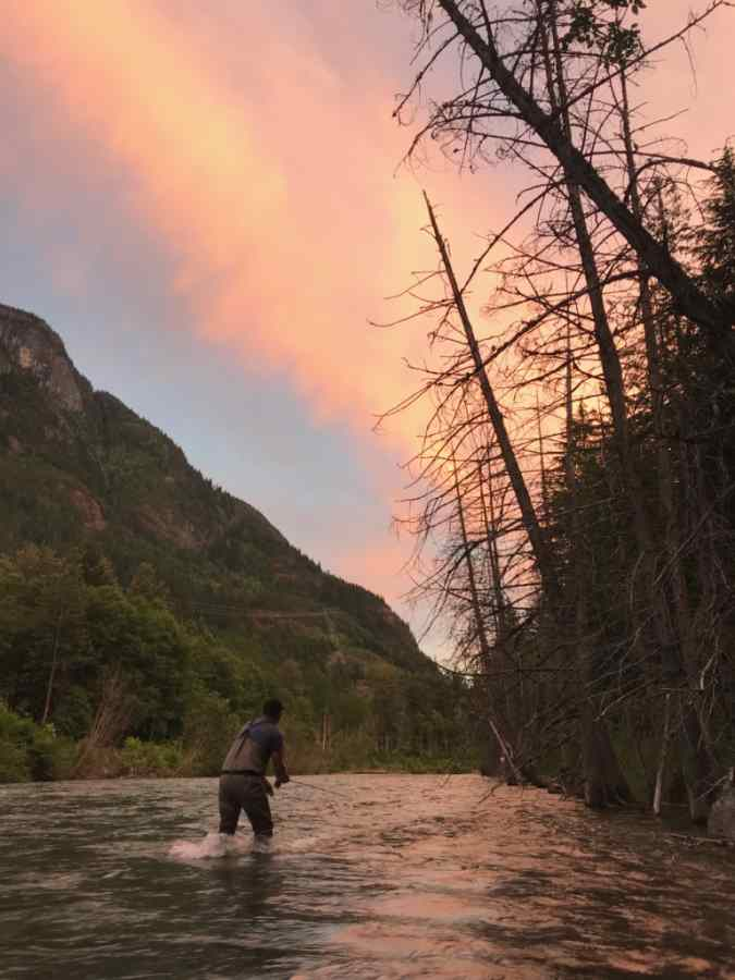 Fly fishing the Birkenhead River in Pemberton BC Canada