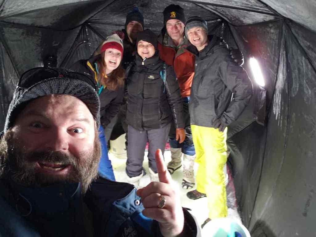 Having fun in the Ice Hut