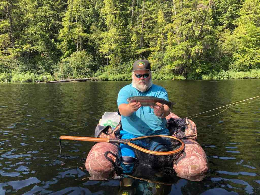 Float tube fly fishing BC