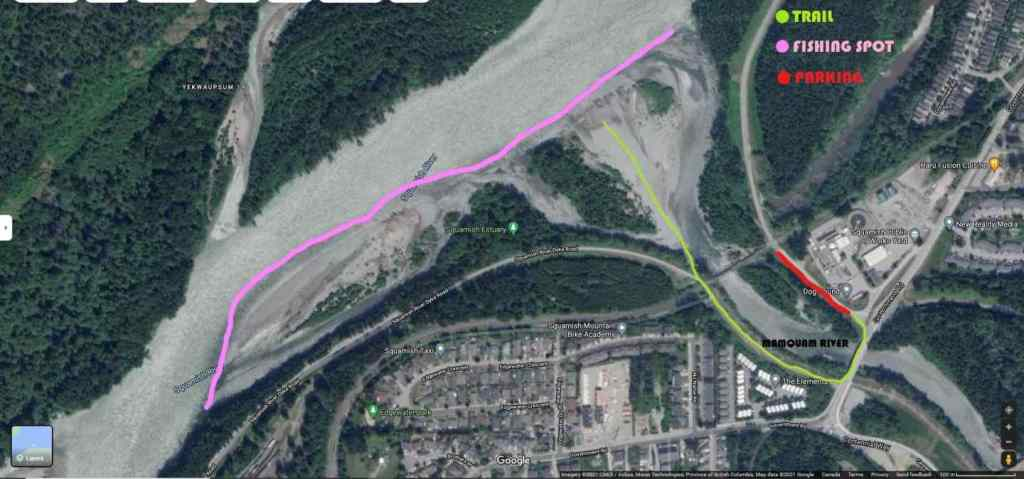 Map of Popular fishing spots for Pink Salmon in Squamish
