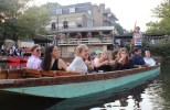 Gondoliers were on hand to do the punting, although students were also eager to have a go, with amusing and multidirectional results.