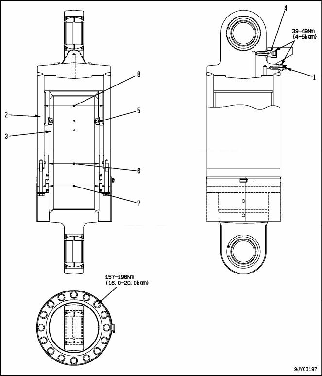 Gambar Diagram Suspensi Belakang Dump Truck Komatsu HD785-7