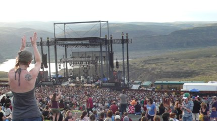 Crowds dance to Michael Franti and Spearhead during the 2008 Sasquatch Music Festival
