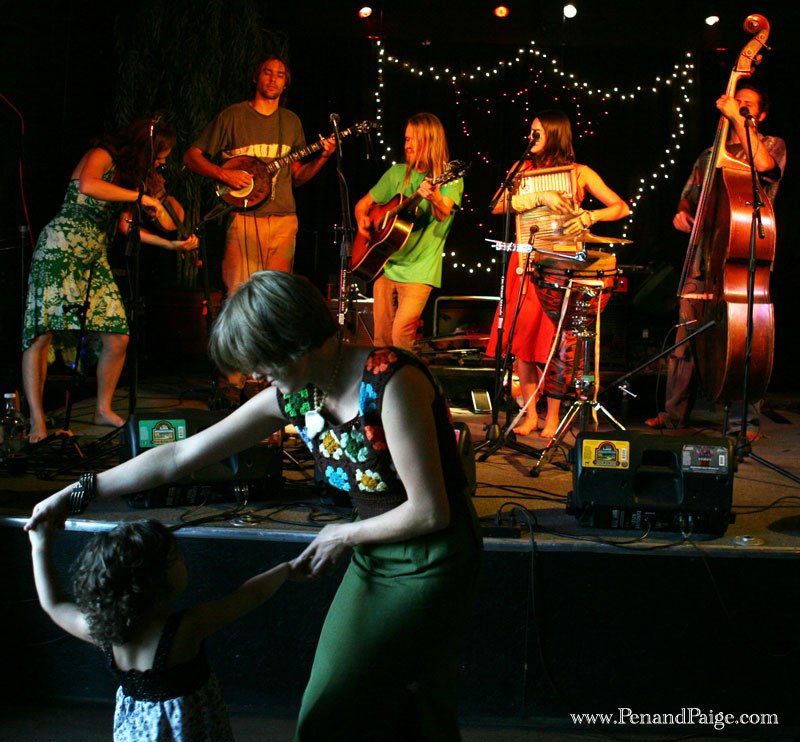 Dancing with her daughter, a patron enjoys Nederland Colorado neo-folk band Elephant Revival at the Yellowstone Valley Brewing Co.