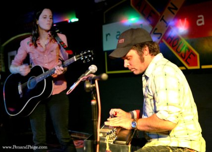 Sera Cahoone performs with pedal steel player Jay Kardong during a stripped-down performance of their band's songs.