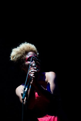 Martina Topley-Bird guest singing with Massive Attack (Photo by Kyle Johnson).