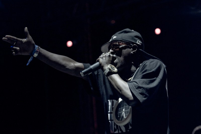 Flavor Flav in performance with Public Enemy (Photo by Kyle Johnson).