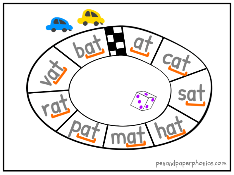 Rhyming Words Racetrack Pen And Paper Phonics