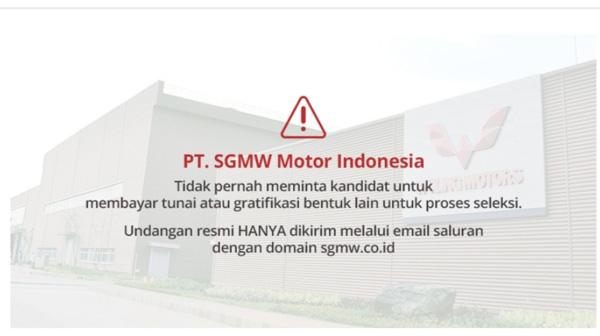 lowongan kerja sgmw motor