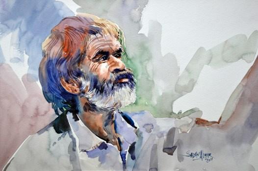 Artwork by Sadhu Aliyur art workshops in bangalore - Artwork by Sadhu Aliyur PencilAndChai - Watercolor Workshop With Eminent Artist Shri. Sadhu Aliyur – Hues of Watercolor-2
