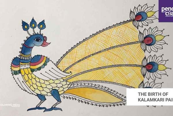 The-Birth-of-Kalamkari-Painting_Art-work-by-Kavitha kalamkari painting - The Birth of Kalamkari Painting Art work by Kavitha - KALAMKARI PAINTINGS